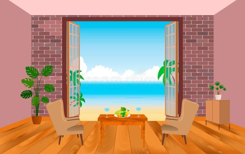 Interno della camera di albergo della località di soggiorno con le poltrone, la tavola e lo sbocco al mare royalty illustrazione gratis