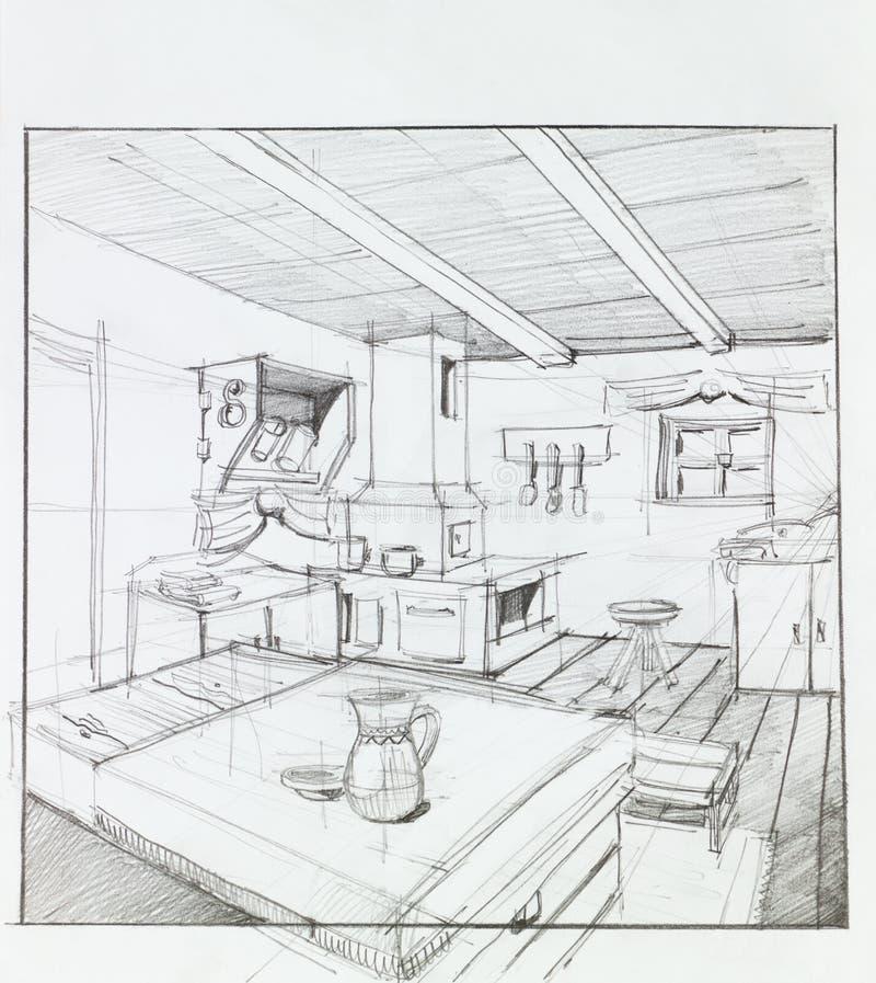 Interno della casa della campagna illustrazione di stock for Interno della casa