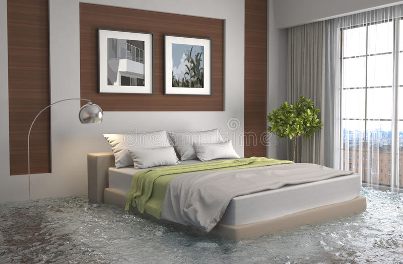 Interno della casa sommersa da acqua illustrazione 3d for Interno della casa