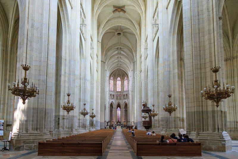 Interno della cattedrale di Nantes fotografia stock
