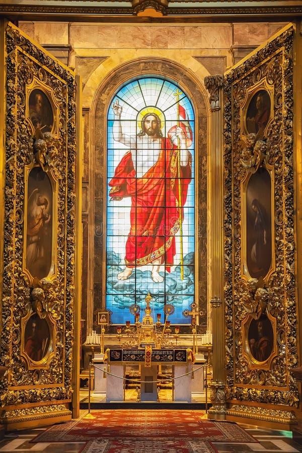 Interno della cattedrale ortodossa della st Isaac in San Pietroburgo, fotografie stock libere da diritti
