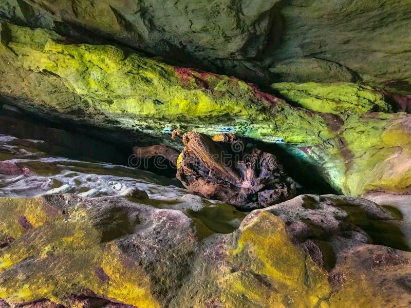 Interno della caverna con il lichene variopinto sulle pareti della roccia immagine stock libera da diritti