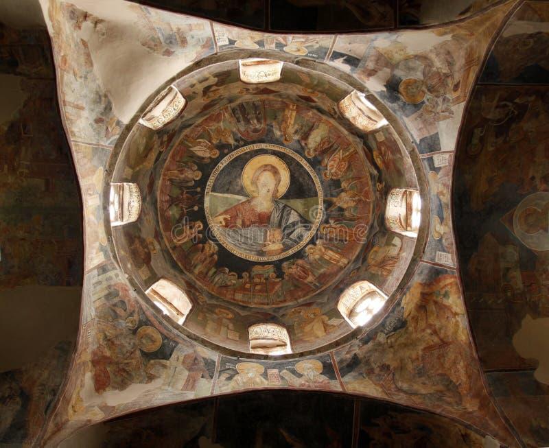 Interno della chiesa cristiana ortodossa vicino a Skopje, Macedonia fotografia stock