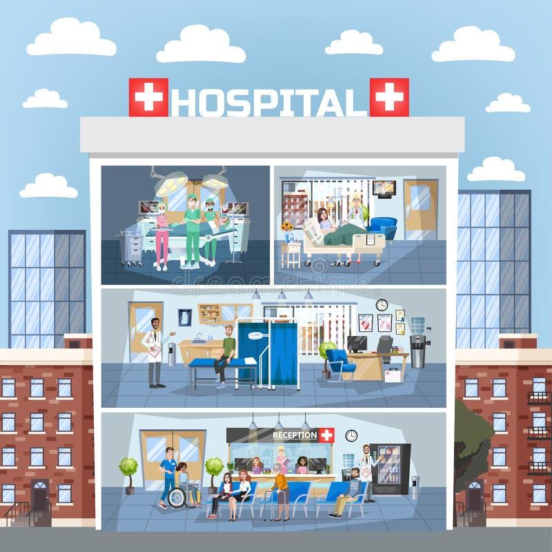 Interno della costruzione dell'ospedale Aggiusti l'ufficio e la stanza della chirurgia illustrazione vettoriale