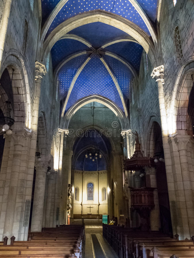 Interno della costruzione storica della cattedrale fotografia stock libera da diritti