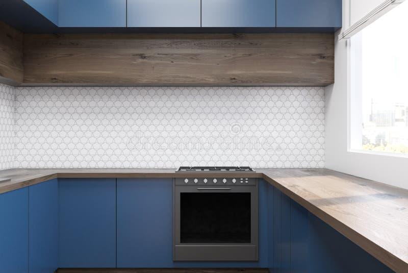 Interno Della Cucina Con Mobilia Blu Illustrazione Di