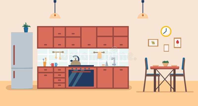 Interno della cucina con mobilia e stufa, armadietto, frigorifero, utensili e tavola di cena Illustrazione piana di vettore di st illustrazione di stock