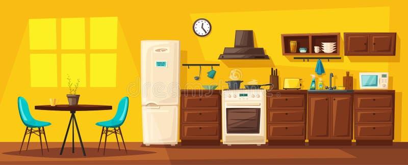 Interno della cucina con mobilia Illustrazione di vettore del fumetto illustrazione vettoriale