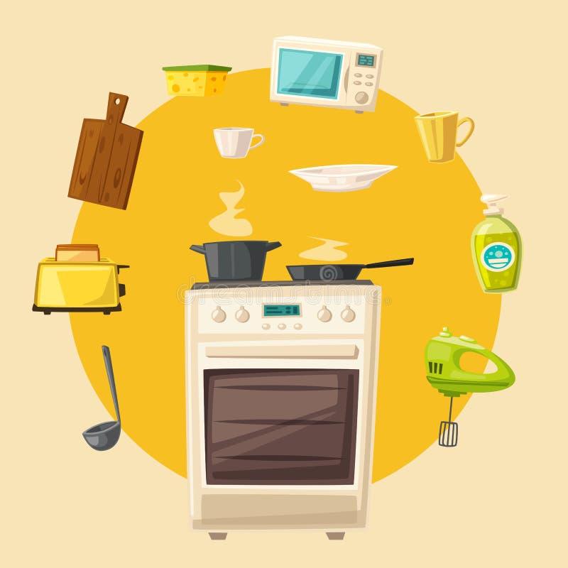 Interno della cucina con mobilia Illustrazione di vettore del fumetto royalty illustrazione gratis