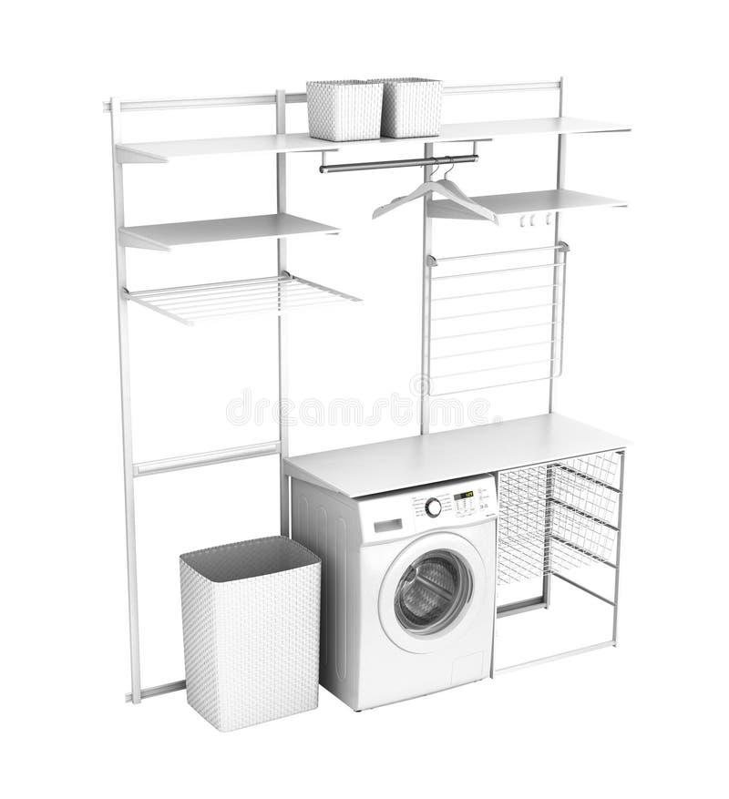 Interno della lavanderia domestica con la lavatrice e degli scaffali vuoti su un fondo bianco 3d senza ombra illustrazione vettoriale