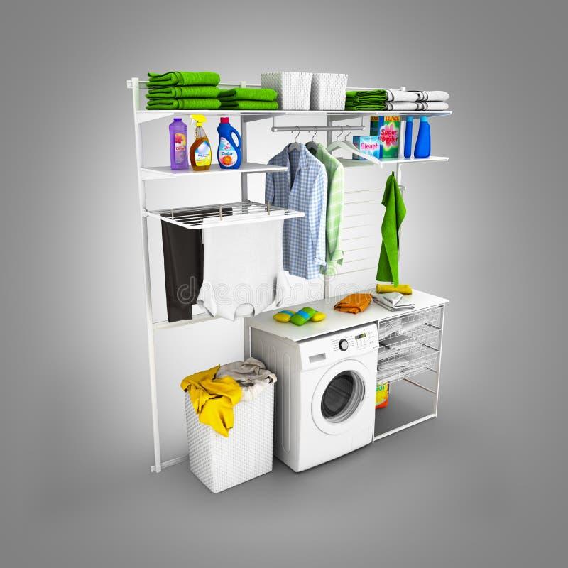 Interno della lavanderia domestica su un fondo grigio 3d di pendenza illustrazione vettoriale