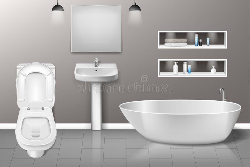 Interno della mobilia del bagno con il lavandino moderno del bagno, specchio, toilette sulla parete grigia Interior design realis illustrazione di stock