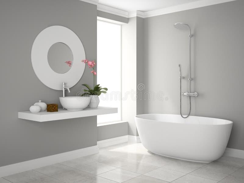 Interno della rappresentazione moderna del bagno 3D fotografia stock