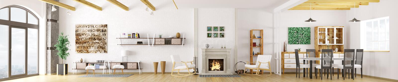 Interno della rappresentazione moderna dell'appartamento 3d illustrazione di stock