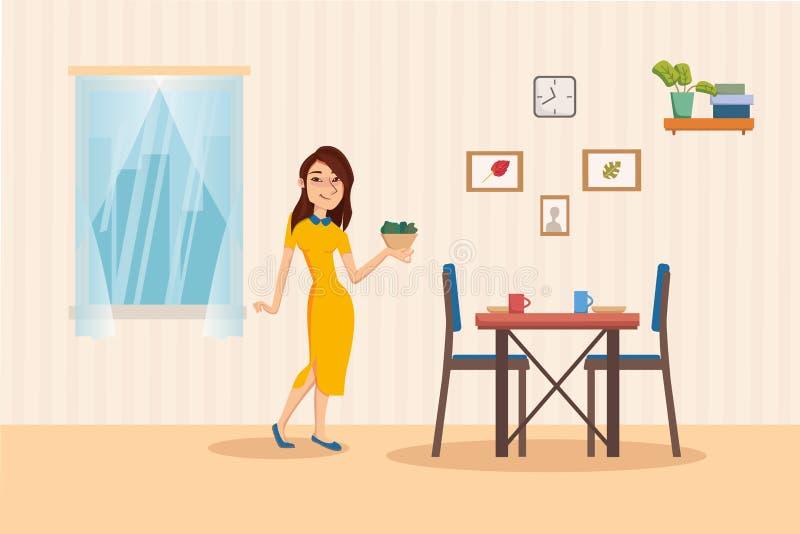 Interno della sala da pranzo con la tavola di cena, sedie, finestra con paesaggio urbano Insalatiera della tenuta della donna Sti illustrazione di stock