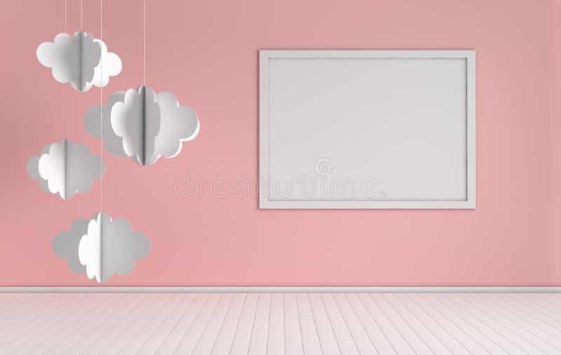 Interno della scuola materna con derisione sulla struttura della foto e sulla decorazione di carta delle nuvole Colori bianchi e  illustrazione vettoriale
