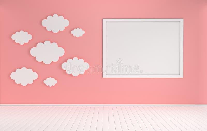 Interno della scuola materna con derisione sulla struttura della foto e sulla decorazione di carta delle nuvole Colori bianchi e  illustrazione di stock