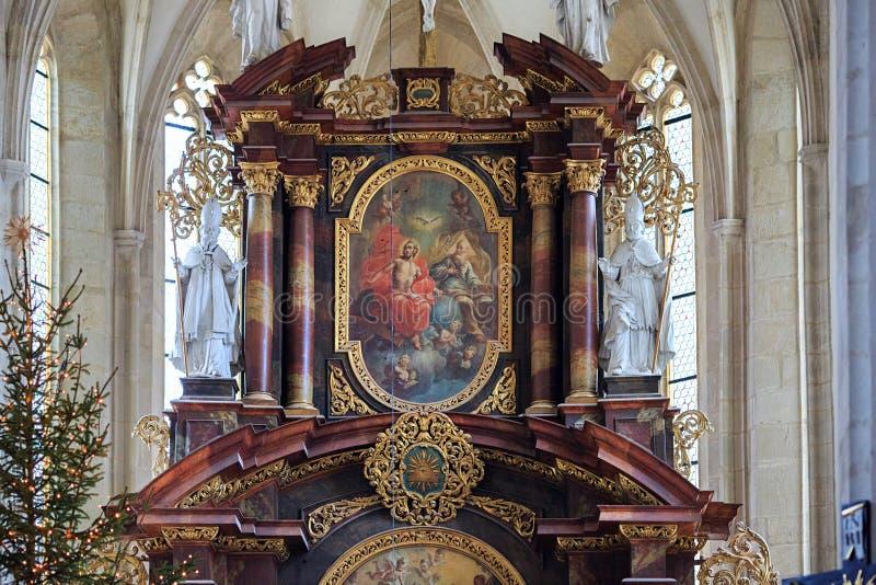 Interno della st Nicholas Church Znojmo, repubblica Ceca, Europa fotografia stock