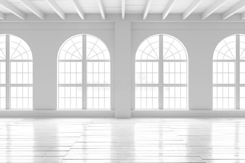 Interno della stanza bianca, modello dello spazio aperto royalty illustrazione gratis