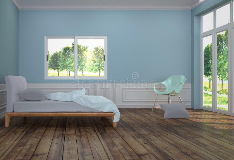 Interno della stanza del letto con il letto bianco con la sedia ed il cuscino verde chiaro, il pavimento di legno ed il fondo blu royalty illustrazione gratis