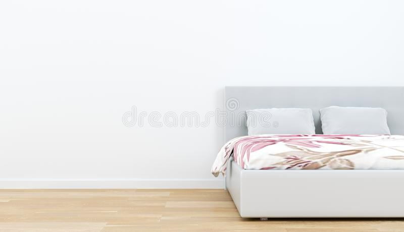 Interno della stanza del letto - pavimento di legno e fondo bianco vuoto della parete rappresentazione 3d royalty illustrazione gratis