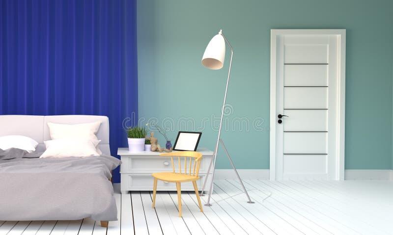Interno della stanza del letto - stile della menta - letto e cuscini, piante, lampada, porta, struttura e sedia di legno, pavimen illustrazione di stock