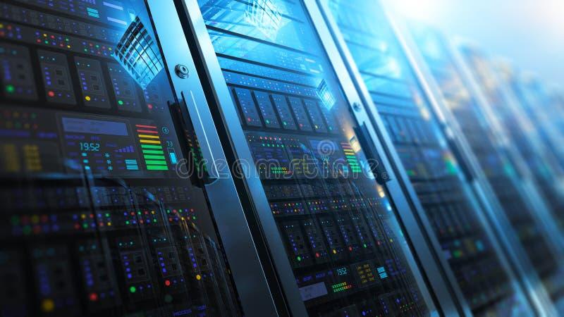 Interno della stanza del server in centro dati illustrazione di stock