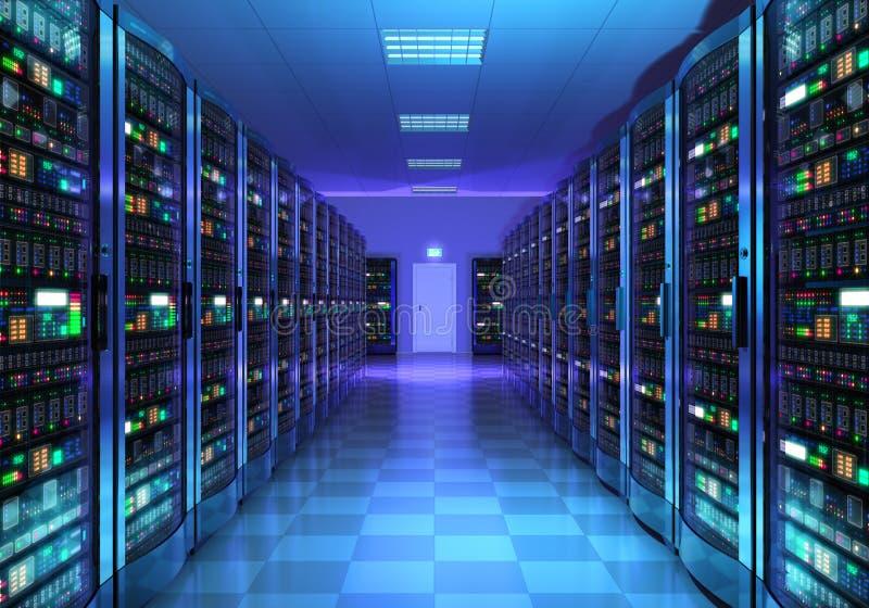 Interno della stanza del server in centro dati royalty illustrazione gratis