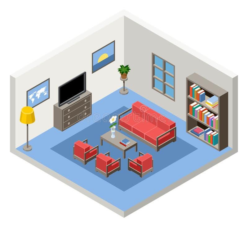 Interno della stanza isometrica con mobilia illustrazione for Mobilia download