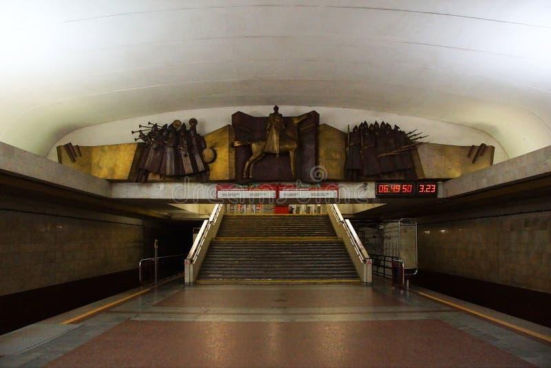 Interno della stazione della metropolitana di Frunzenskaya a Minsk immagine stock