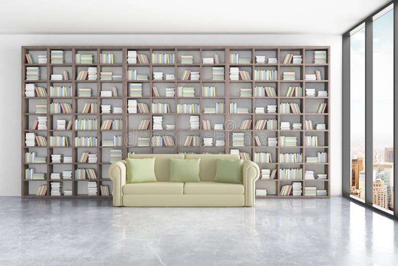 Interno delle biblioteche con gli scaffali per libri massicci, lo strato verde comodo e la finestra con la vista della città illustrazione vettoriale