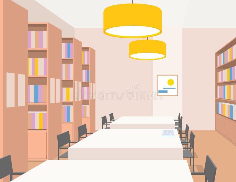 Interno delle biblioteche con le tavole sedie scaffali for Mobilia spazio