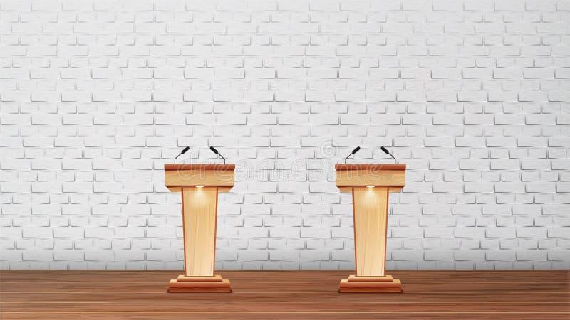 Interno di auditorium per il vettore di dibattiti illustrazione vettoriale