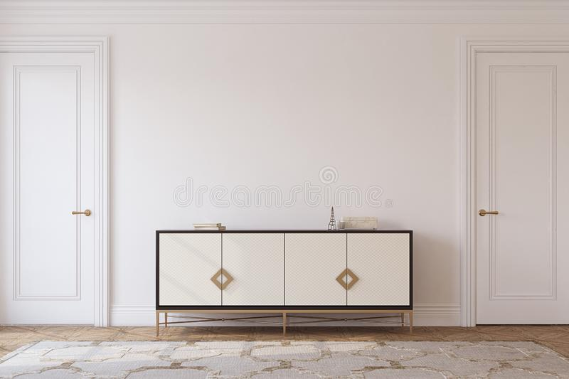 Interno di corridoio nello stile neoclassico 3d rendono royalty illustrazione gratis