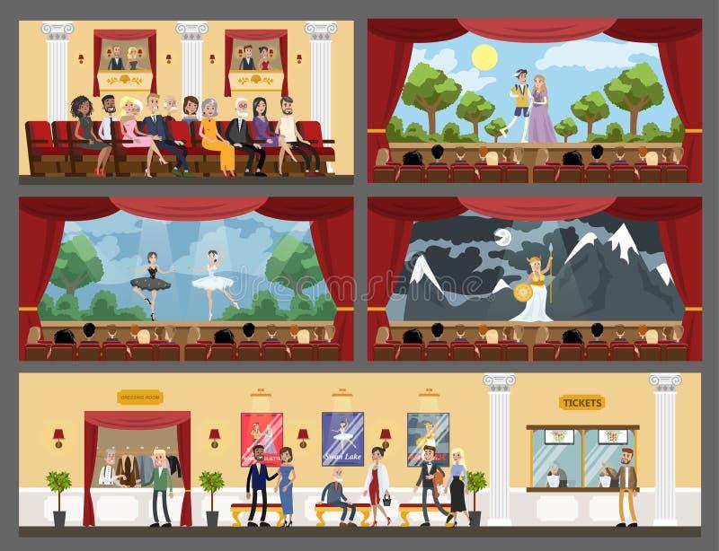 Interno di costruzione del teatro illustrazione vettoriale