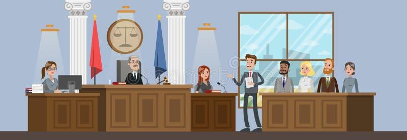 Interno di costruzione della corte con l'aula di tribunale Processo di prova illustrazione vettoriale