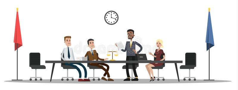 Interno di costruzione della corte con la gente sulla riunione illustrazione di stock