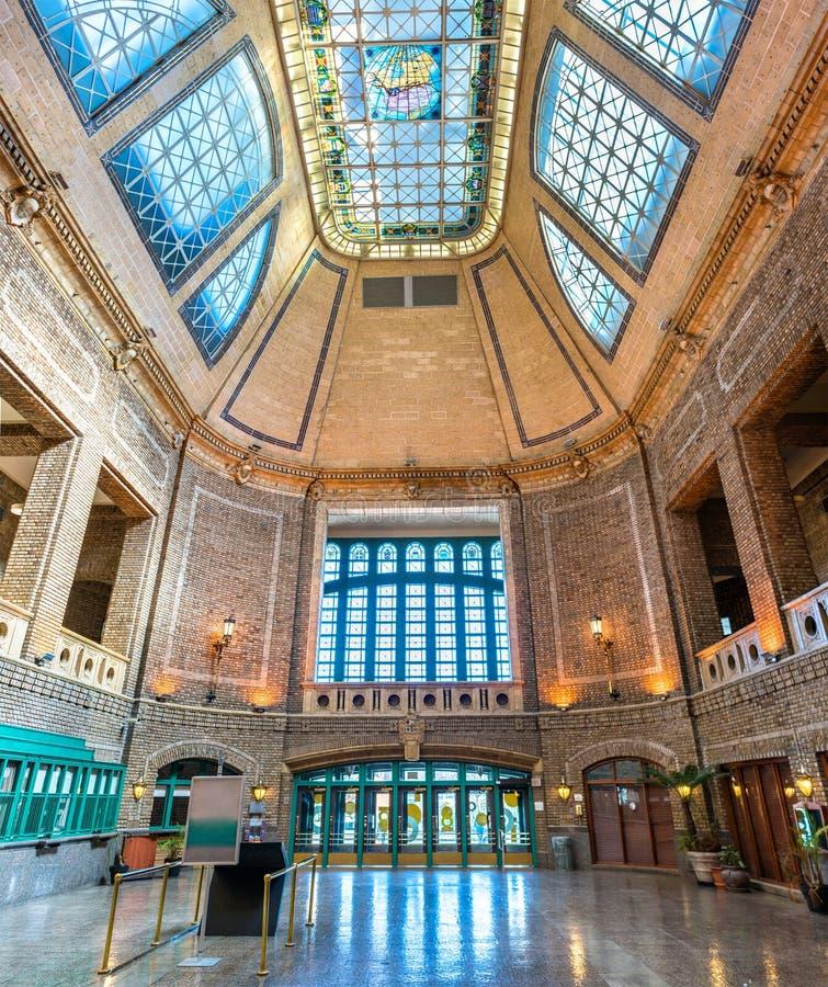 Interno di Gare du Palais, la stazione ferroviaria storica a Québec, Canada fotografie stock libere da diritti