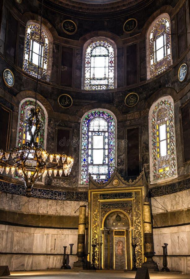 Interno di Hagia Sophia - più grande monumento di cultura bizantino fotografia stock libera da diritti