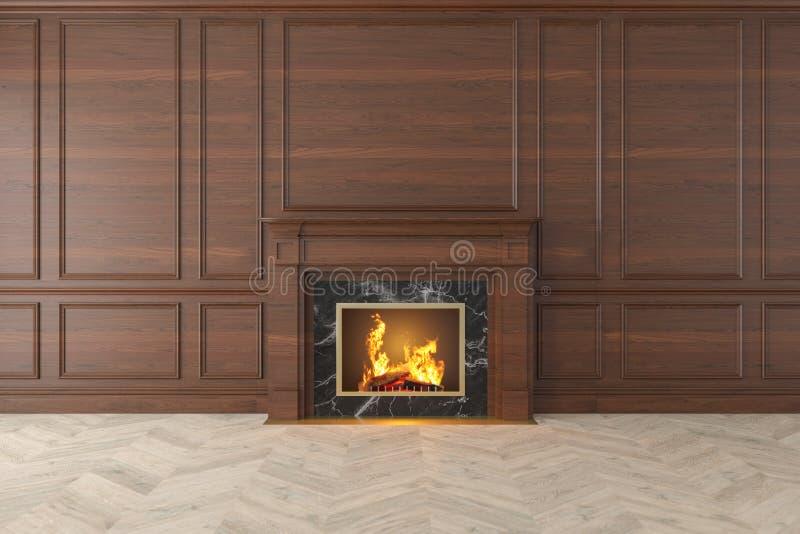 Interno di legno classico moderno con il camino, pannelli di parete, pavimento di legno illustrazione di stock