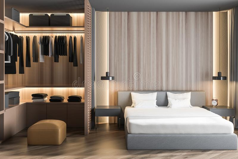 Interno di legno della camera da letto principale con il guardaroba royalty illustrazione gratis