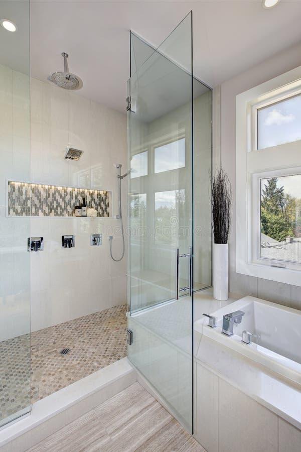 Interno di lusso del bagno con la doccia delle grandi persone senza appuntamento immagini stock libere da diritti
