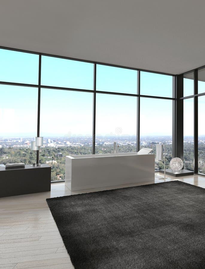 Interno di lusso esclusivo del bagno in un attico moderno immagine stock