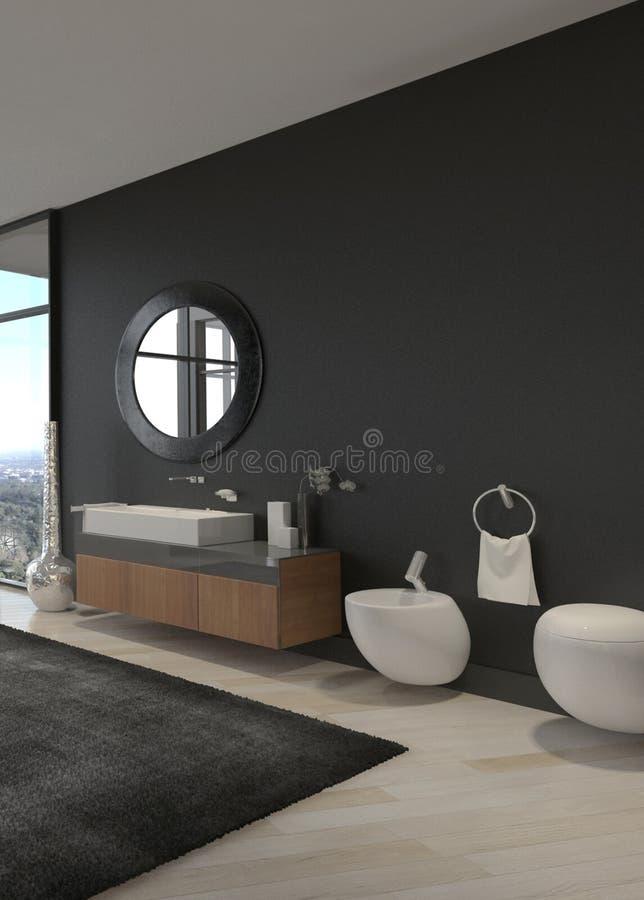 Interno di lusso esclusivo del bagno in un attico moderno fotografia stock libera da diritti