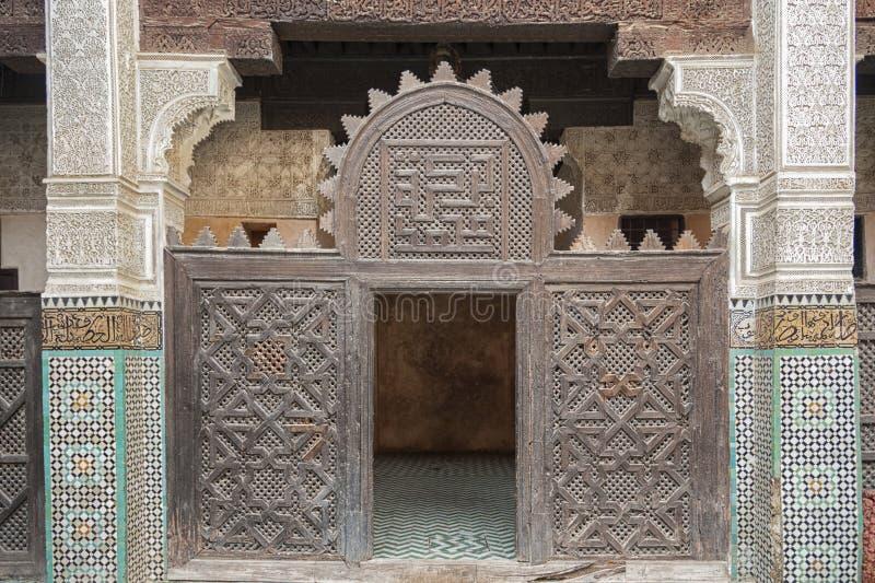 Interno di Madrasa Bou Inania in Meknes, Marocco fotografia stock