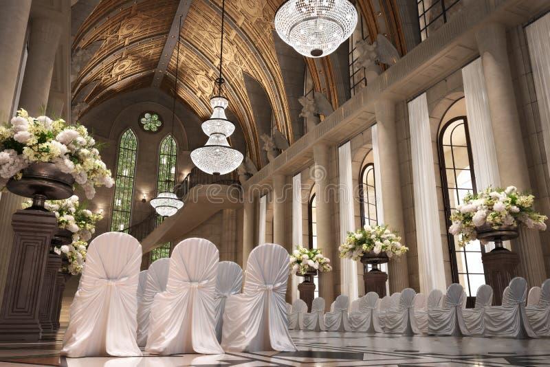 Interno di nozze della cattedrale della chiesa illustrazione di stock