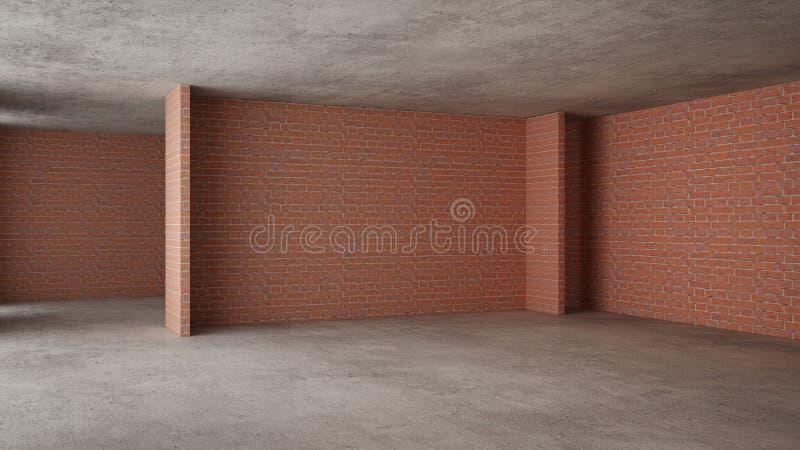 Interno di nuova casa in costruzione, rinnovamento domestico, mura di mattoni, pavimentazione concreta, architettura che costruis illustrazione di stock