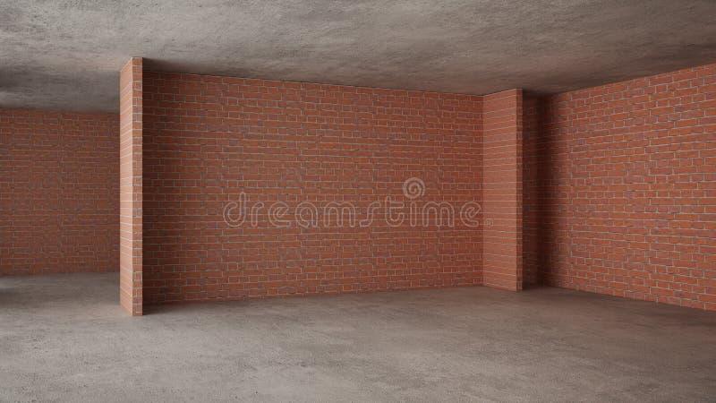 Interno di nuova casa in costruzione, rinnovamento domestico, mura di mattoni, pavimentazione concreta, architettura che costruis illustrazione vettoriale