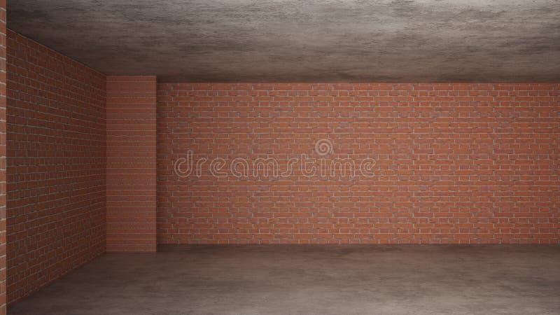 Interno di nuova casa in costruzione, rinnovamento domestico, mura di mattoni, pavimentazione concreta, architettura che costruis royalty illustrazione gratis