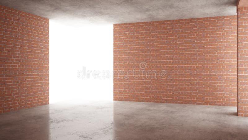 Interno di nuova casa in costruzione, rinnovamento domestico, mura di mattoni rossi, pavimentazione concreta, architettura che co illustrazione di stock